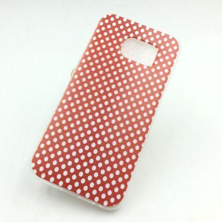 Handy Hülle für Samsung Galaxy S6 Edge Cover Case Schutz Tasche Motiv Slim Silikon TPU Polka Dot Rot