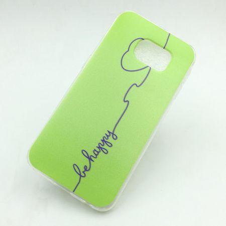 Handy Hülle für Samsung Galaxy S6 Edge Cover Case Schutz Tasche Motiv Slim Silikon TPU Be Happy Grün – Bild 1