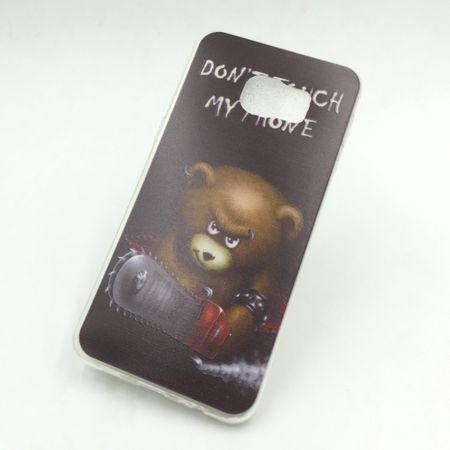 Handy Hülle für Samsung Galaxy S6 Edge+ Cover Case Schutz Tasche Motiv Slim Silikon TPU Schriftzug Bär mit Kettensäge