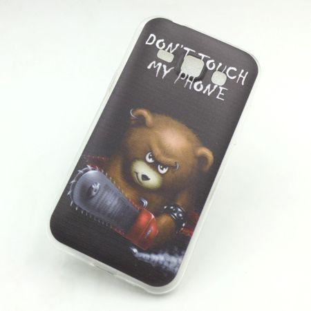 Handy Hülle für Samsung Galaxy J1 Cover Case Schutz Tasche Motiv Slim Silikon TPU Schriftzug Bär mit Kettensäge