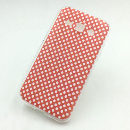 Handy Hülle für Samsung Galaxy J1 Cover Case Schutz Tasche Motiv Slim Silikon TPU Polka Dot Rot