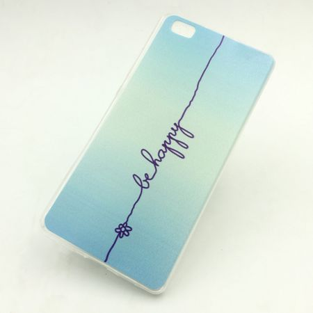Handy Hülle für Huawei P8 Lite Cover Case Schutz Tasche Motiv Slim Silikon TPU Schriftzug Be Happy Blau