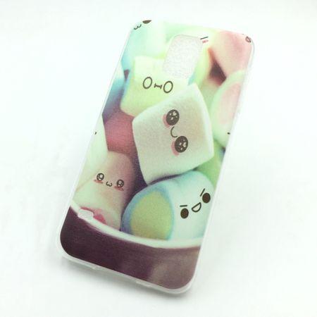 Handy Hülle für Samsung Galaxy S5 Cover Case Schutz Tasche Motiv Slim Silikon TPU Schriftzug Marshmallows