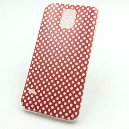 Handy Hülle für Samsung Galaxy S5 Cover Case Schutz Tasche Motiv Slim Silikon TPU Polka Dot Rot