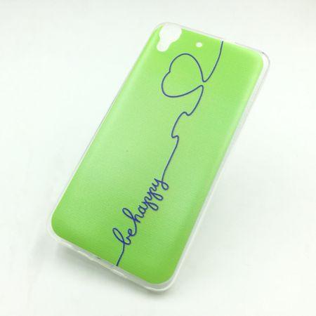 Handy Hülle für Huawei G Play Mini Cover Case Schutz Tasche Motiv Slim Silikon TPU Be Happy Grün