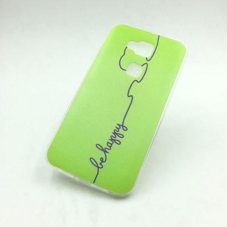 Handy Hülle für Huawei G8 Cover Case Schutz Tasche Motiv Slim Silikon TPU Be Happy Grün