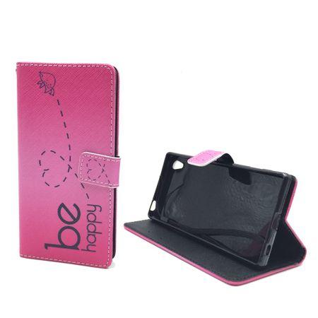 Handyhülle Tasche für Handy Sony Xperia Z5  Be Happy Pink – Bild 2