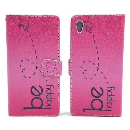 Handyhülle Tasche für Handy Sony Xperia Z5  Be Happy Pink – Bild 3