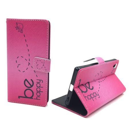 Handyhülle Tasche für Handy Sony Xperia Z5  Be Happy Pink – Bild 4