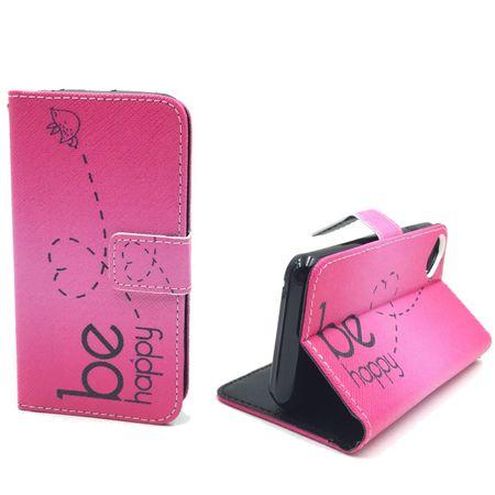 Handyhülle Tasche für Handy Wiko Sunset 2  Be Happy Pink