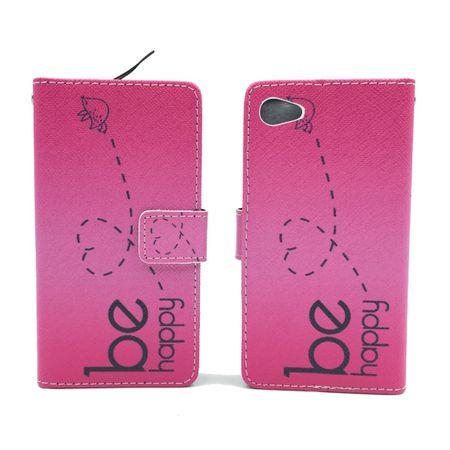 Handyhülle Tasche für Handy Sony Xperia Z5 Compact Be Happy Pink