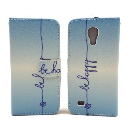 Handyhülle Tasche für Handy Samsung Galaxy S4 Mini Schriftzug Be Happy Blau