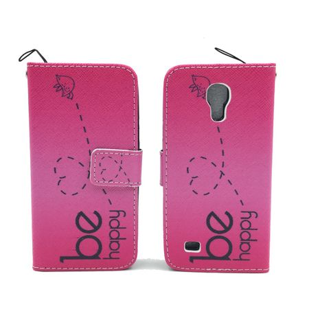Handyhülle Tasche für Handy Samsung Galaxy S4 Mini Be Happy Pink