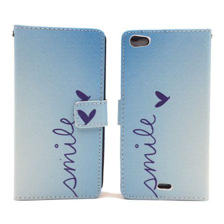 Handyhülle Tasche für Handy Wiko Highway Pure  Schriftzug Smile Blau