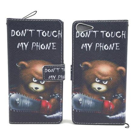 Handyhülle Tasche für Handy Wiko Highway Star  Schriftzug Bär mit Kettensäge – Bild 3