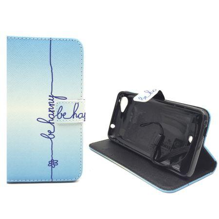 Handyhülle Tasche für Handy Wiko Rainbow Jam  Schriftzug Be Happy Blau – Bild 2