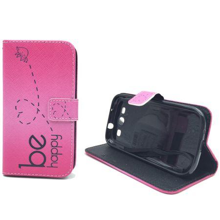 Handyhülle Tasche für Handy Samsung Galaxy S3 / S3 Neo Be Happy Pink – Bild 5