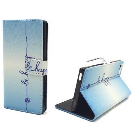 Handyhülle Tasche für Handy Wiko Fever 4G  Schriftzug Be Happy Blau – Bild 1