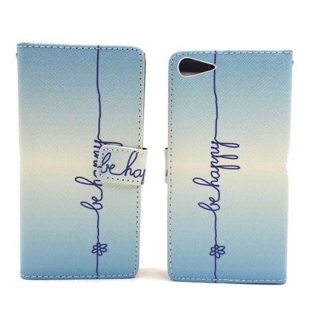 Handyhülle Tasche für Handy Wiko Fever 4G  Schriftzug Be Happy Blau – Bild 6