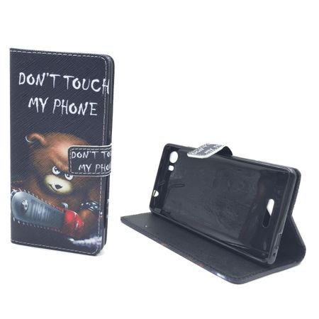 Handyhülle Tasche für Handy Wiko Fever 4G  Schriftzug Bär mit Kettensäge – Bild 2