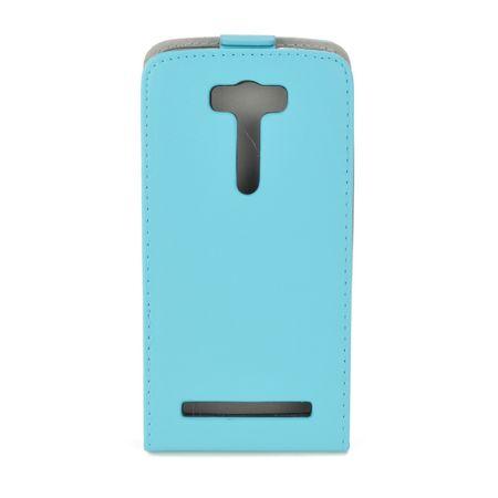 Flip Schutz Hülle für Asus Zenfone 2 Laser (5,0 Zoll) Hellblau Leder-Imitat Slim Flex – Bild 2