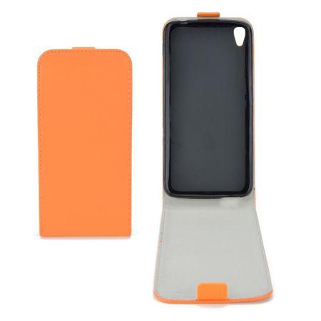 Flip Schutz Hülle für Alcatel Idol 3 (5.5) Orange Leder-Imitat Slim Flex
