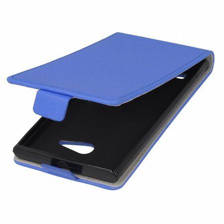 Flip Schutz Hülle für Huawei Ascend Y530 Blau Leder-Imitat Slim Flex