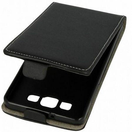 Flip Schutz Hülle für LG Leon Schwarz Leder-Imitat Slim Flex