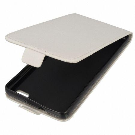 Flip Schutz Hülle für Microsoft Lumia 950 Weiß Leder-Imitat Slim Flex