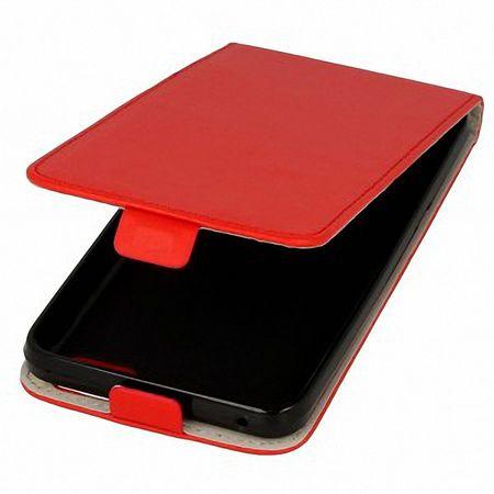 Flip Schutz Hülle für Samsung Galaxy A3 Rot Leder-Imitat Slim Flex