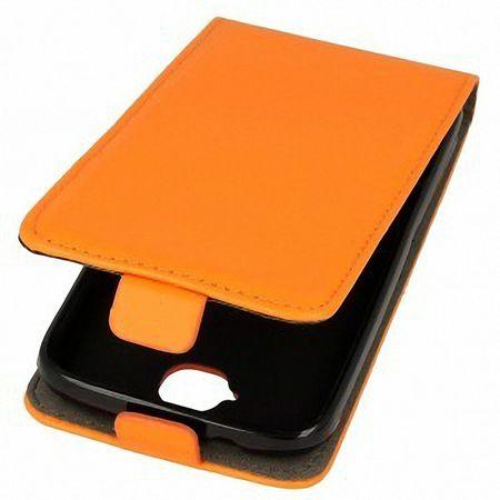 Flip Schutz Hülle für Samsung Galaxy J1 Orange Leder-Imitat Slim Flex – Bild 2