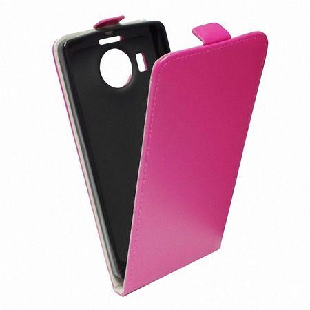 Flip Schutz Hülle für Wiko Lenny 2 Pink Leder-Imitat Slim Flex