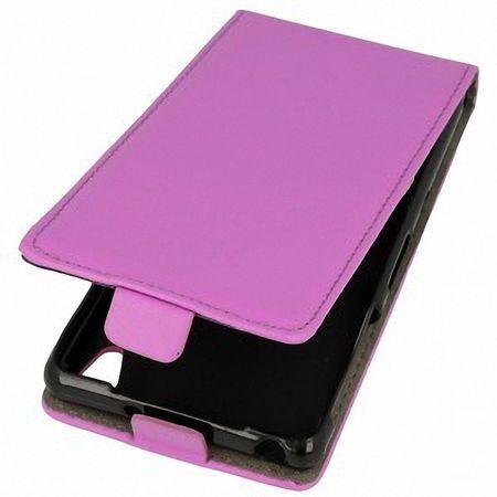 Flip Schutz Hülle für Wiko Rainbow  Lila Leder-Imitat Slim Flex – Bild 1