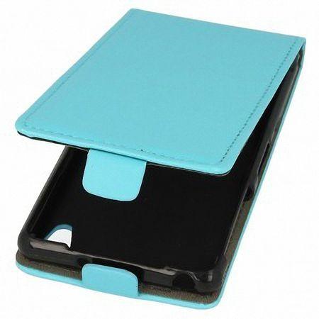 Flip Schutz Hülle für Sony Xperia Z5 Compact Hellblau Leder-Imitat Slim Flex