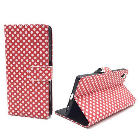Handyhülle Tasche für Handy Sony Xperia Z5 Polka Dot Rot