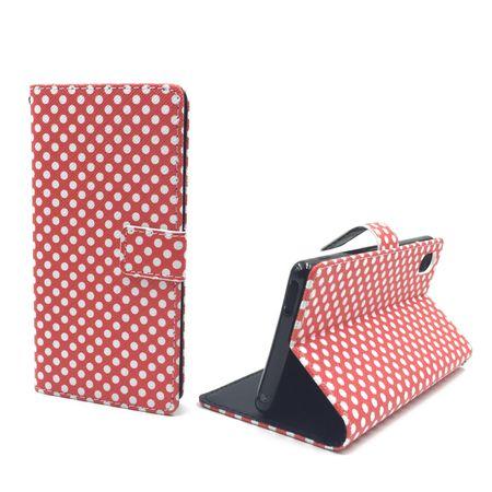 Handyhülle Tasche für Handy Sony Xperia M4 Aqua Polka Dot Rot – Bild 1