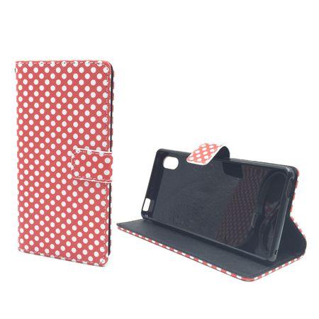 Handyhülle Tasche für Handy Sony Xperia M4 Aqua Polka Dot Rot – Bild 5
