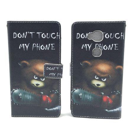 Handyhülle Tasche für Handy Huawei Honor 5X  Schriftzug Bär mit Kettensäge