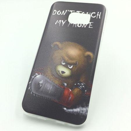 Handy Hülle für Samsung Galaxy S7 Edge Cover Case Schutz Tasche Motiv Slim Silikon TPU Schriftzug Bär mit Kettensäge – Bild 1