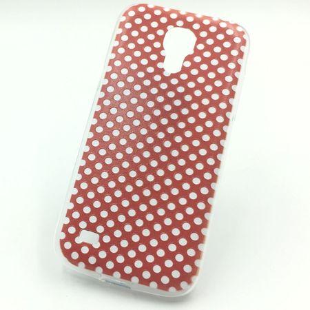 Handy Hülle für Samsung Galaxy S4 Mini Cover Case Schutz Tasche Motiv Slim Silikon TPU Polka Dot Rot