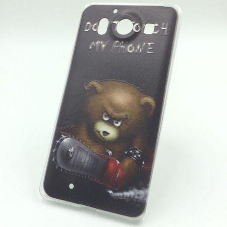 Handy Hülle für Microsoft Lumia 950 Cover Case Schutz Tasche Motiv Slim Silikon TPU Schriftzug Bär mit Kettensäge – Bild 1