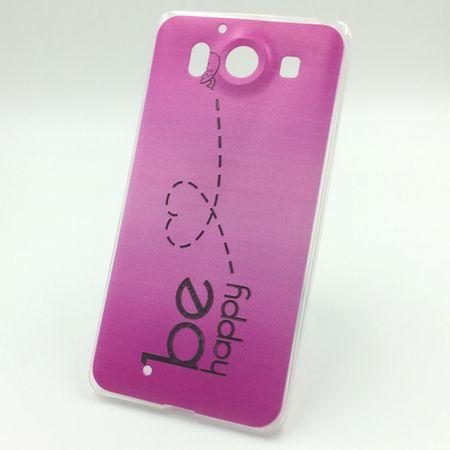 Handy Hülle für Microsoft Lumia 950 Cover Case Schutz Tasche Motiv Slim Silikon TPU Be Happy Pink
