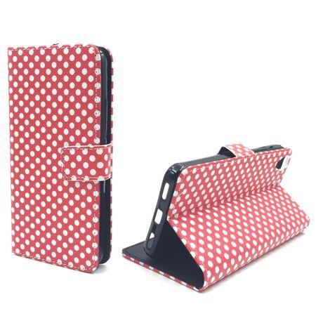 Handyhülle Tasche für Handy Huawei Y6 Polka Dot Rot Weiss