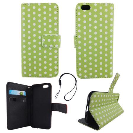 Handyhülle Tasche für Handy Apple iPhone 6 / 6s Polka Dot Grün Weiss