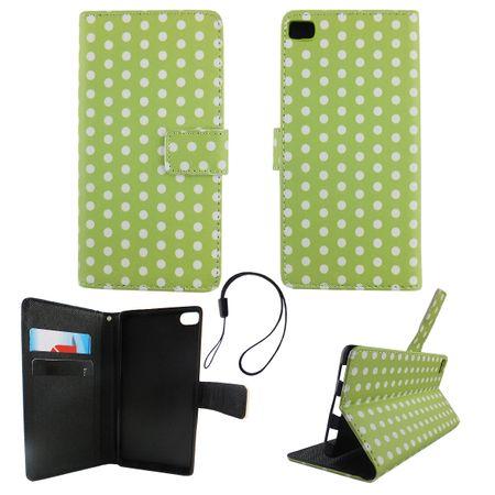 Handyhülle Tasche für Handy Huawei P8 Polka Dot Grün Weiss