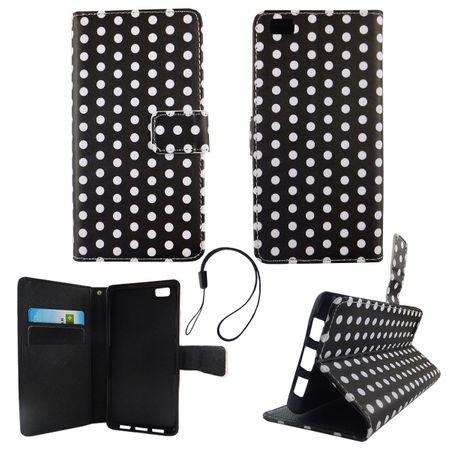 Handyhülle Tasche für Handy Huawei P8 Lite Polka Dot Schwarz Weiss – Bild 2