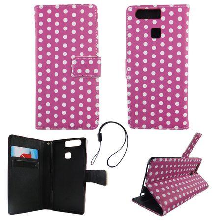 Handyhülle Tasche für Handy Huawei P9 Polka Dot Lila Weiss