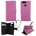 Handyhülle Tasche für Handy Huawei P9 Polka Dot Lila Weiss 001