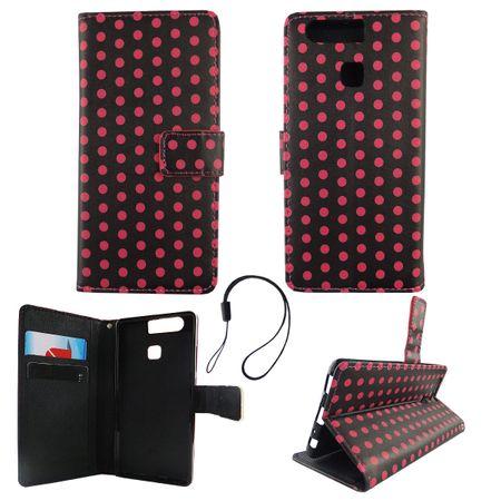 Handyhülle Tasche für Handy Huawei P9 Polka Dot Schwarz Pink – Bild 1