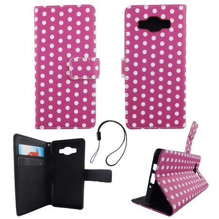 Handyhülle Tasche für Handy Samsung Galaxy A5 2015 Polka Dot Lila Weiss